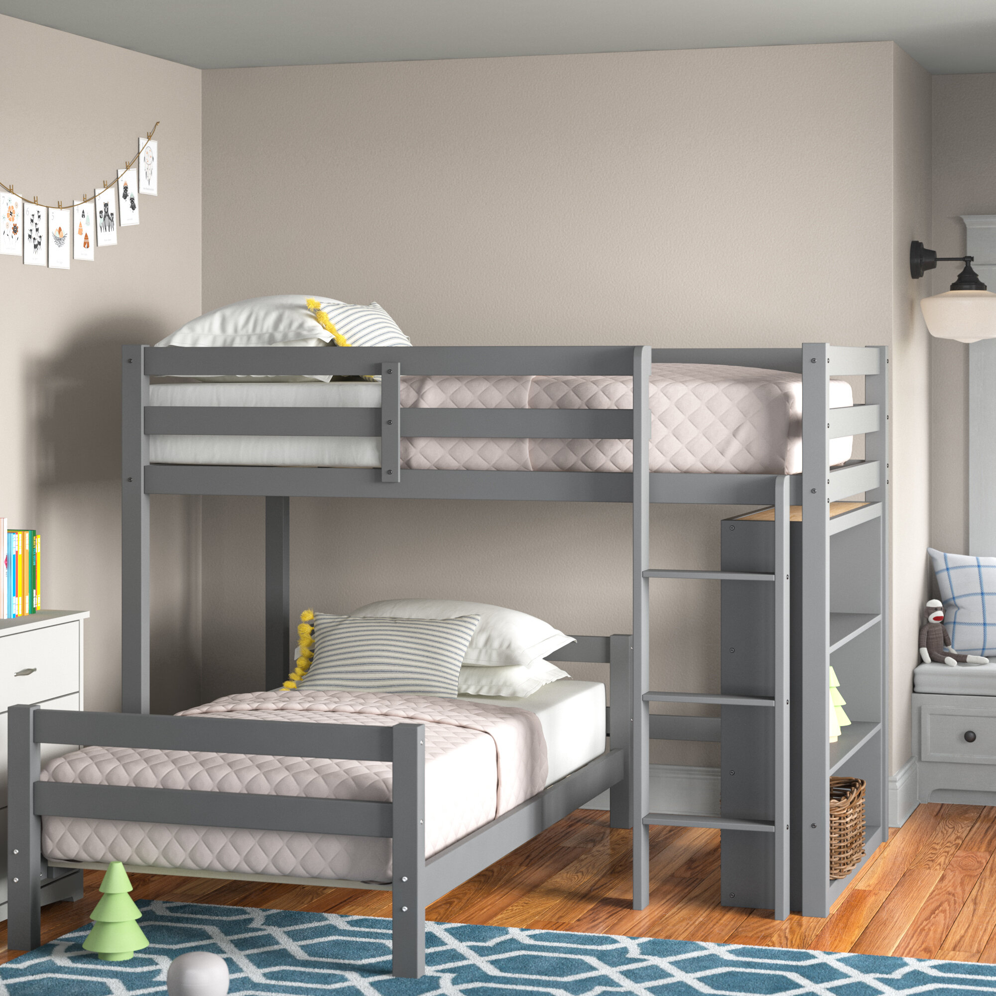 Andover Mills Baby Kids Lagase Twin Over Twin L Shaped Bunk Bed With Shelves Wayfair