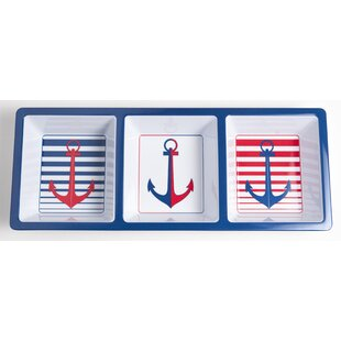 Yacht and Home Melamine Anchor Divided Serving Dish