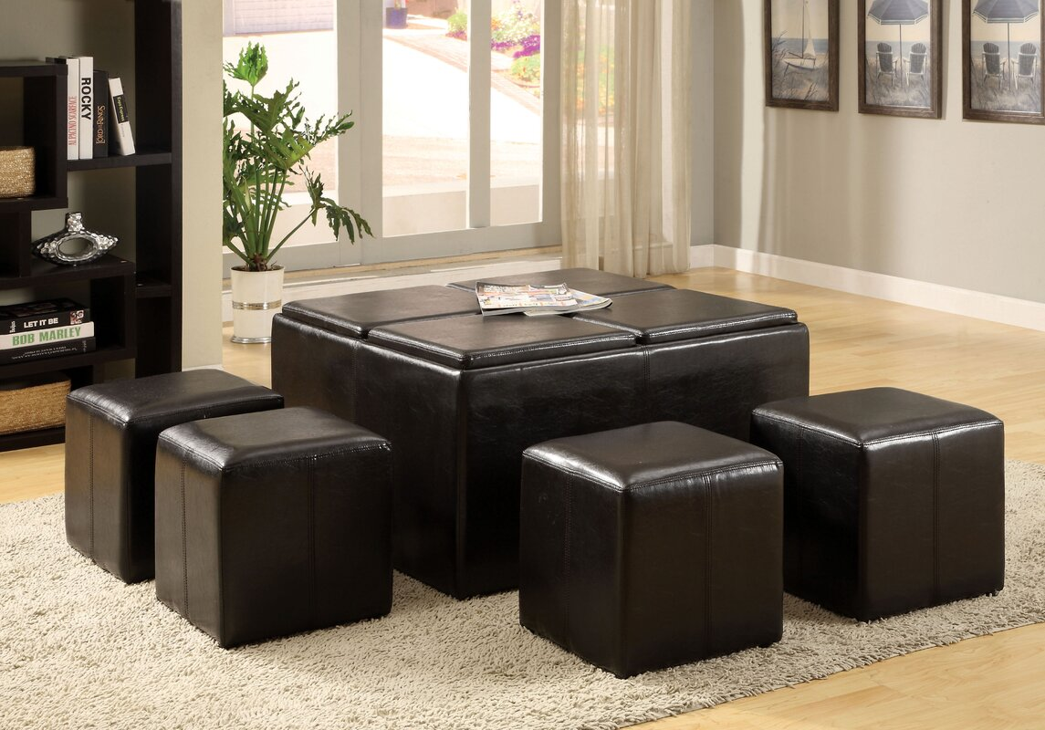 Turner 5 Piece Coffee Table Ottoman Set