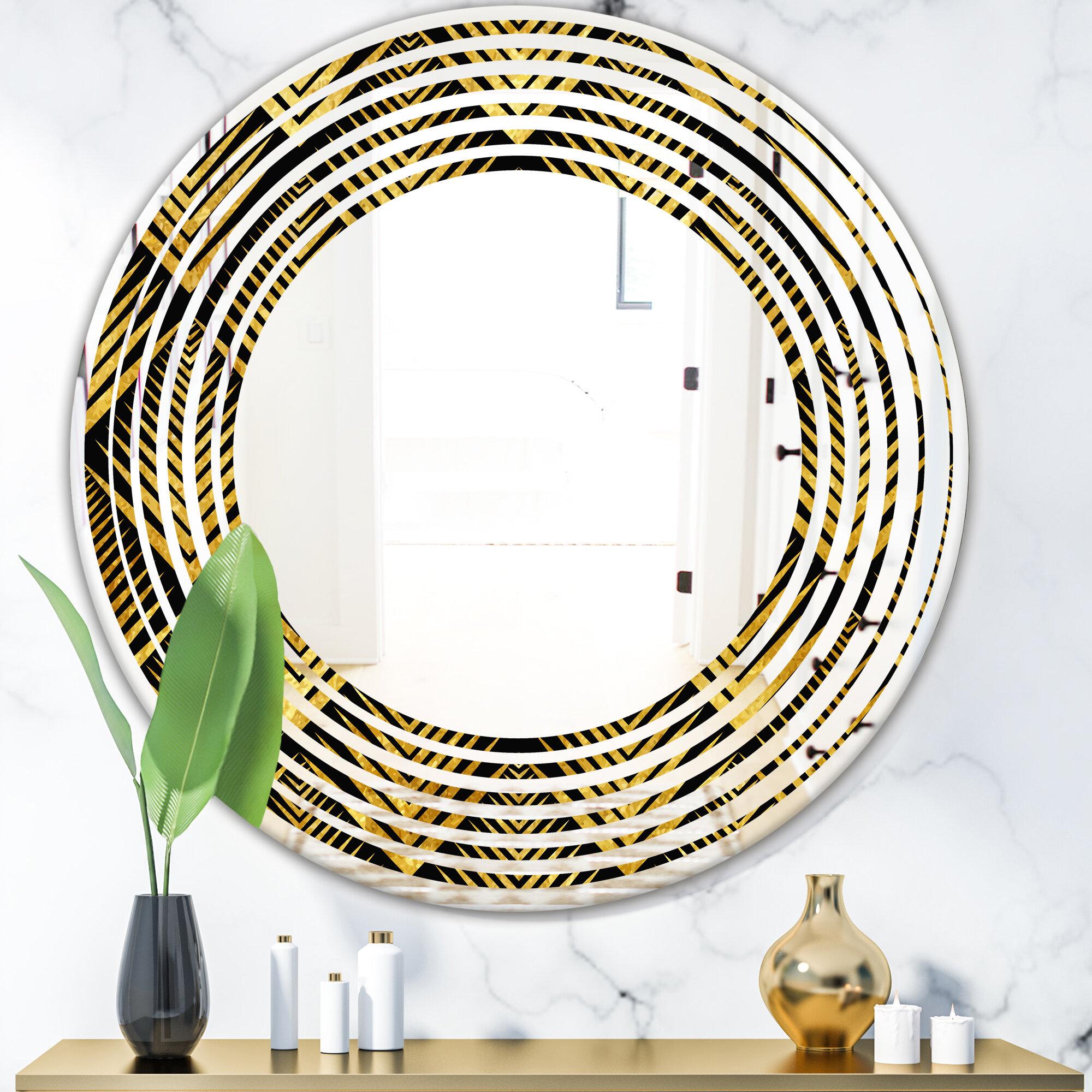 East Urban Home Wave Art Deco Seal Pattern Modern Contemporary Frameless Wall Mirror Wayfair