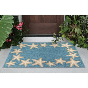 Claycomb Starfish Border Hand-Tufted Aqua Indoor/Outdoor Area Rug