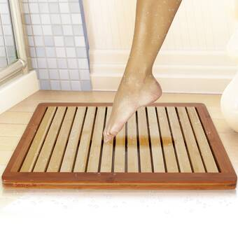 Rebrilliant Lassiter Rectangle Teak Wood Striped Bath Rug Wayfair