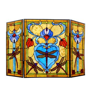 Dragonfly 3 Panel Metal Fireplace Screen By Chloe Lighting