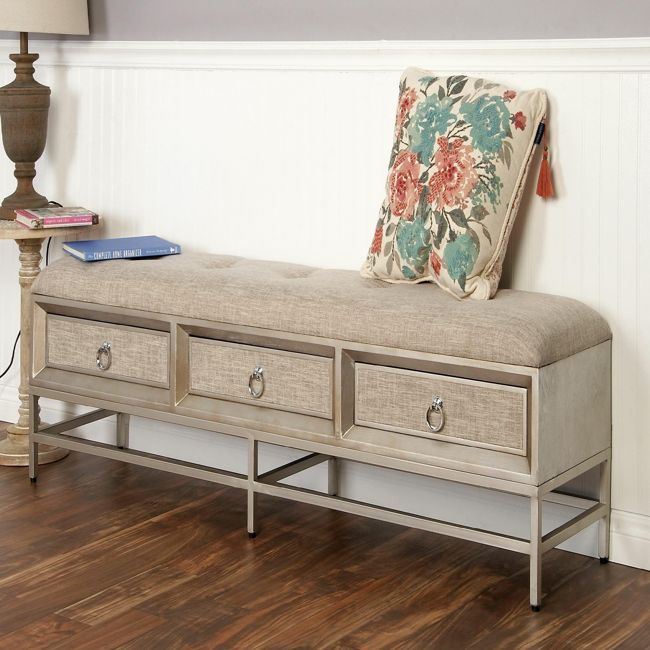 Wood Drawer Storage Bench