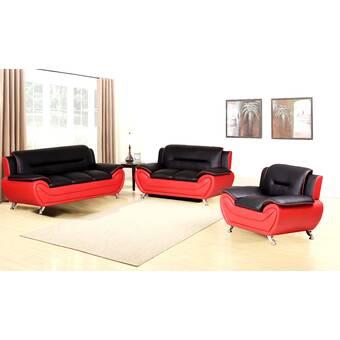 Orren Ellis Gariepy 3 Piece Living Room Set Wayfair