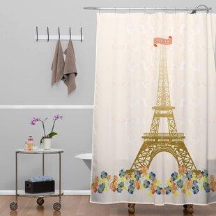 Jennifer Hill Paris Eiffel Tower Single Shower Curtain
