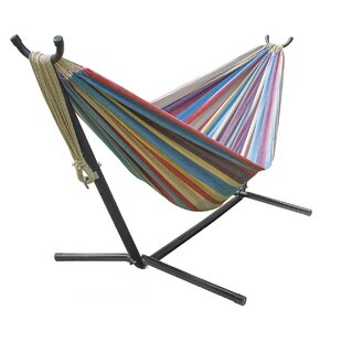 Double Adjustable Cotton Hammock with Stand