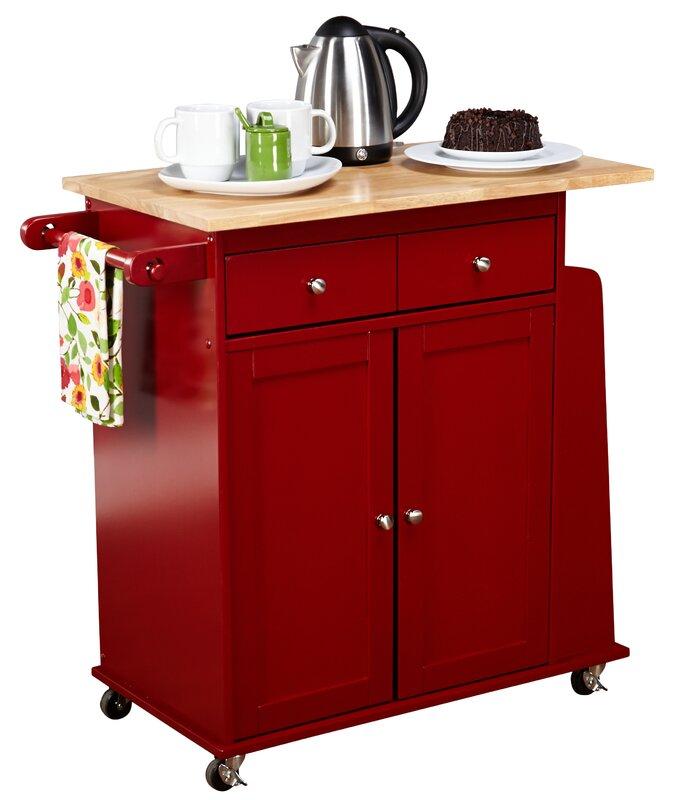 alcott hill ferraro kitchen cart with wooden top & reviews   wayfair
