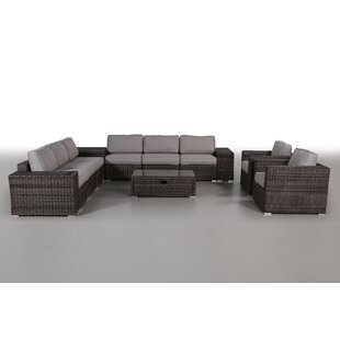 Nolen 12 Piece Rattan Sectional Seating Group with Cushions