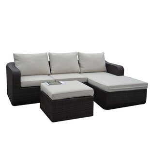 Bay Isle Home Portsville 3 Piece Patio Sectional Set with Cushions