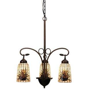 Meyda Tiffany Victorian Lodge Tiffany Pine Barons 3-Light Shaded Chandelier