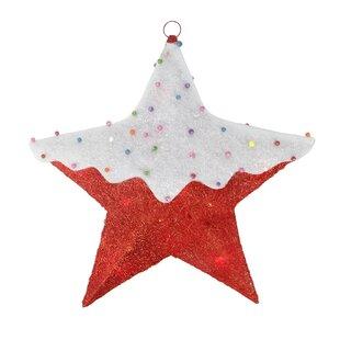 Northlight Seasonal Snow Covered Candy Sisal Hanging Star Window Light