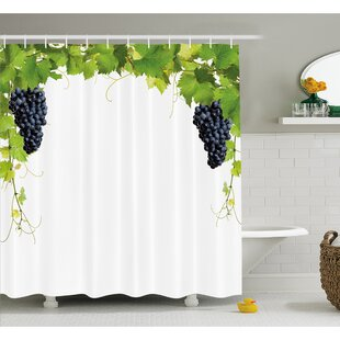 Grapes Wine Leaf with Loose Bunch of Large Berries Tannin Breed French Village Shower Curtain Set