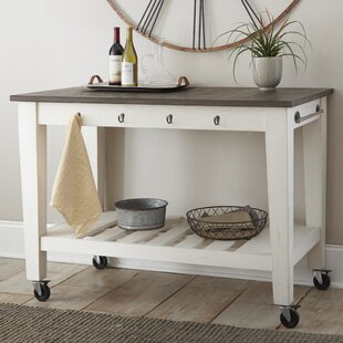 Duclos 2 Tone Kitchen Cart Highland Dunes