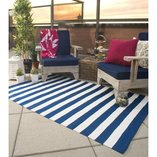 Compare prices Nantucket Hand Woven Blue/White Indoor/Outdoor Area Rug By Fab Habitat