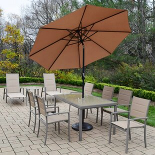 Oakland Living Padded Sling 10 Piece Dining Set with Umbrella