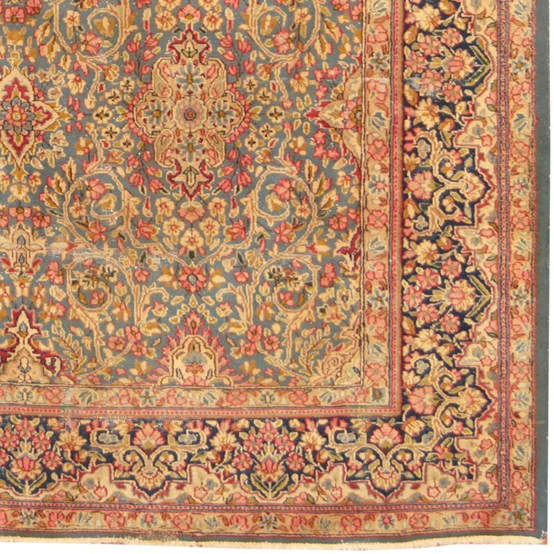 Persian Kerman Hand Knotted Turquoise Navy Area Rug