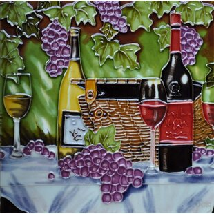 Wine, Basket, And Purple Grape Tile Wall Decor