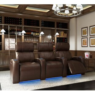Latitude Run Home Theater Row Seating with Chaise Footrest (Row of 3)