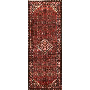 Reviews One-of-a-Kind Gans Hamedan Traditional Vintage Persian Hand-Knotted Runner 3'7 x 9'5 Wool Red/Black/Beige Area Rug By Isabelline