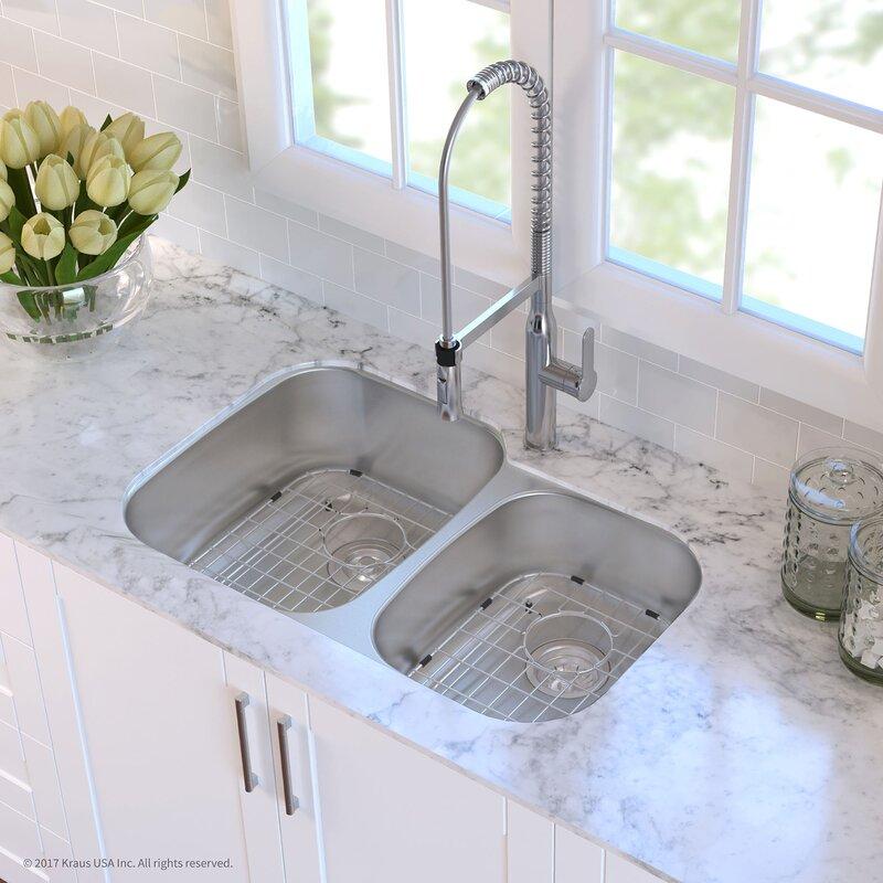 32   x 21   double basin undermount kitchen sink with drain assembly kraus 32   x 21   double basin undermount kitchen sink with drain      rh   wayfair com