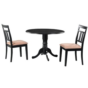 Sickles 3 Piece Drop Leaf Solid Wood Dining Set in Black/Brown August Grove