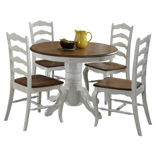 Wisser Oak And Rubbed White 5-Piece Dining Set by August Grove Modern