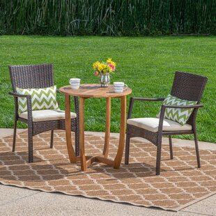 Villanueva Outdoor 3 Piece Bistro Set with Cushions