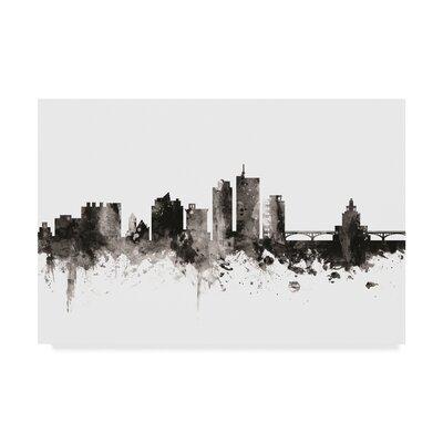 "Cedar Rapids Iowa Skyline Black White' Graphic Art on Wrapped Canvas Wrought Studio™ Size: 30"""" H x 47"""" W x 2"""" D -  5B183E1243074482B5DA2DAD07ECFB77"