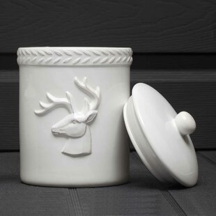 Deer with Lid Stoneware Kitchen Canister