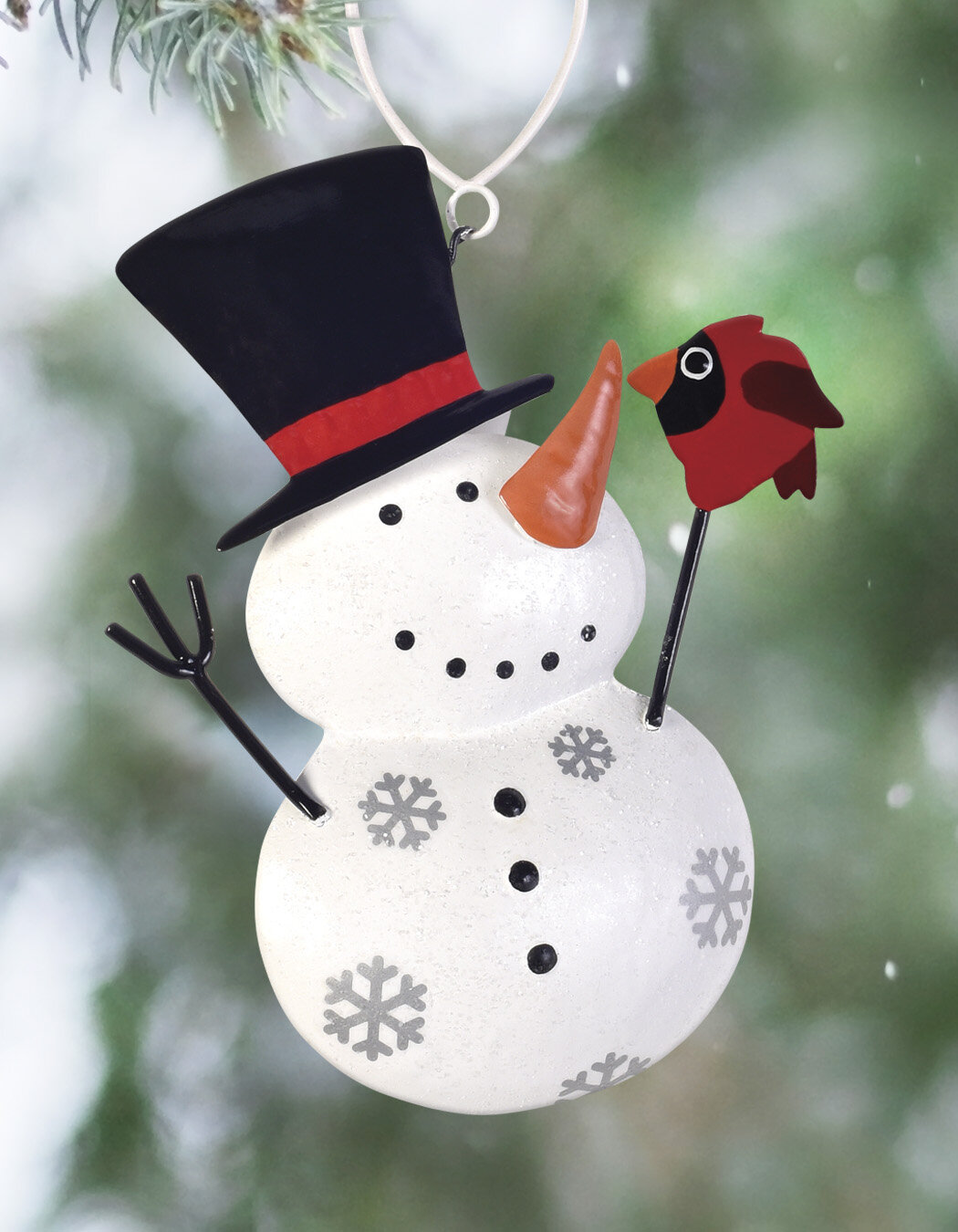 The Holiday Aisle Set Of 2 Snowman With Bird Hanging Figurine Ornament Wayfair