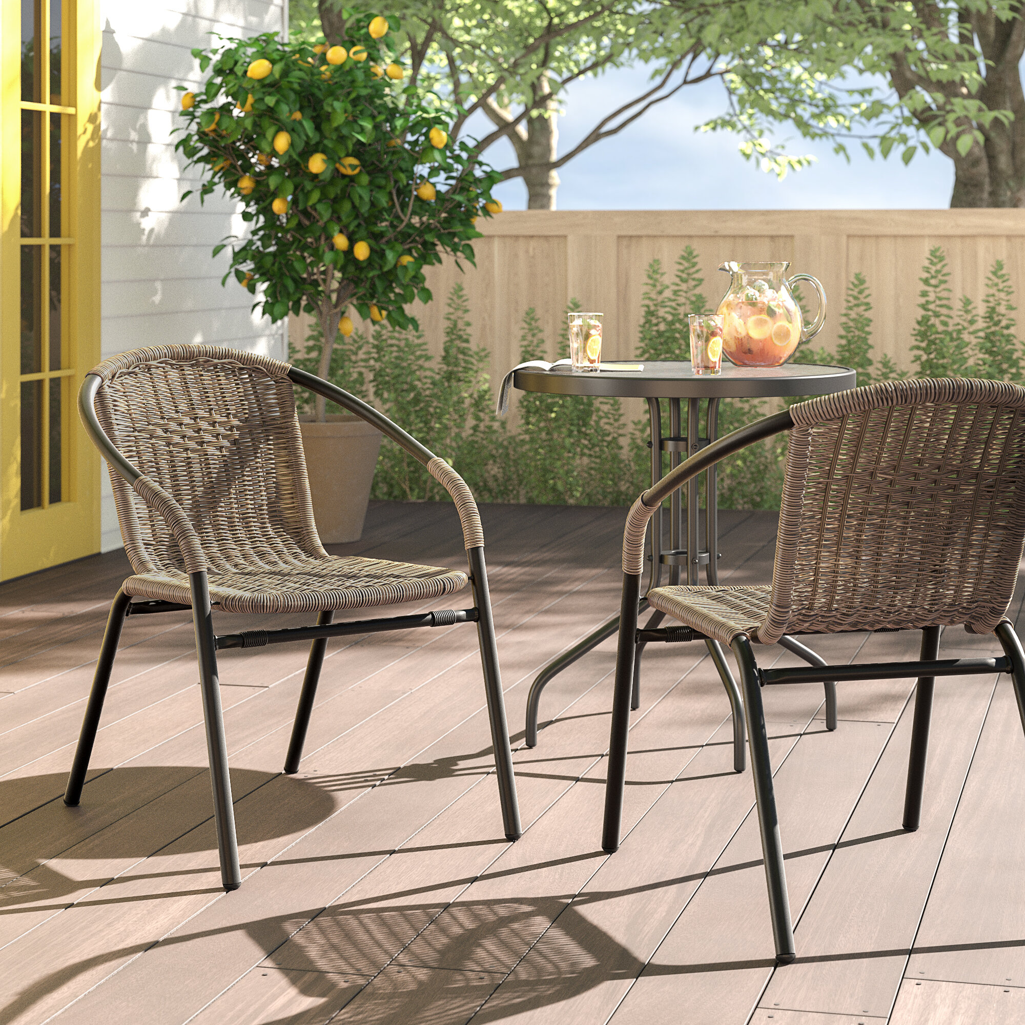 Tremendous Pineville Rattan Patio Dining Chair Gmtry Best Dining Table And Chair Ideas Images Gmtryco