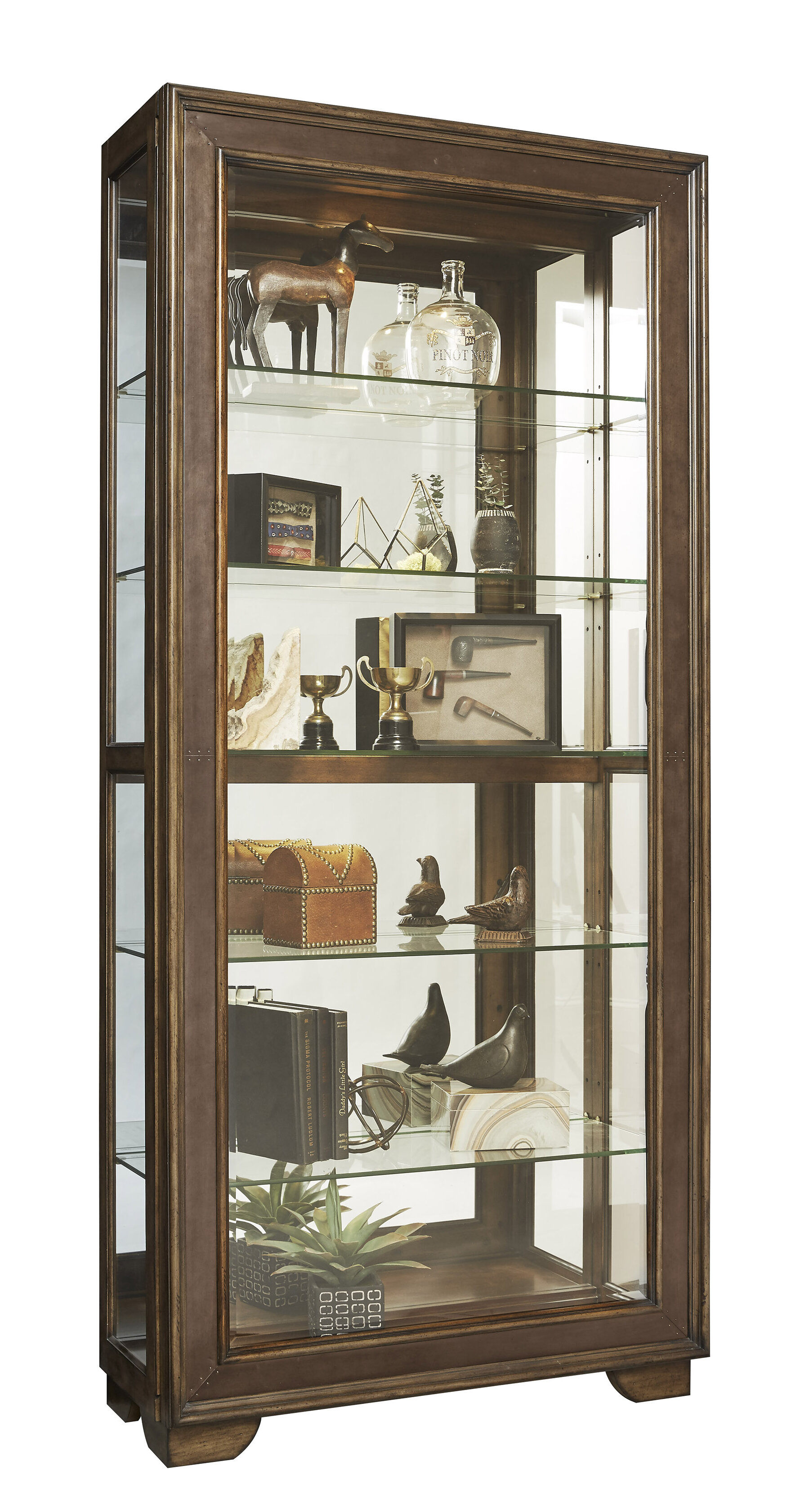 Gracie Oaks Giovanny Metal Front Sliding Door Lighted Curio Cabinet
