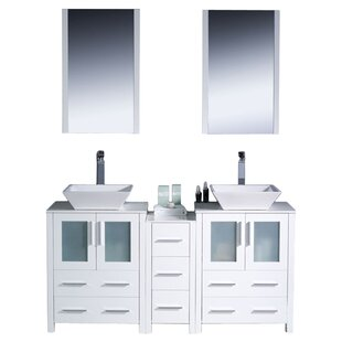 Torino 60 Double Modern Bathroom Vanity Set with Mirror by Fresca