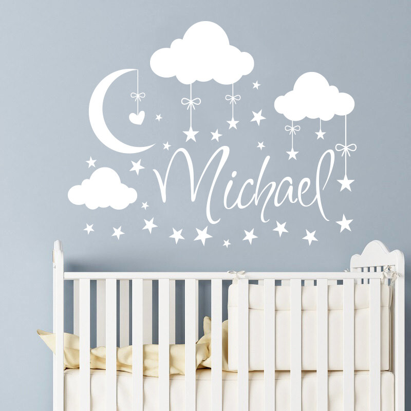 Name Clouds Nursery Decor Wall Decal