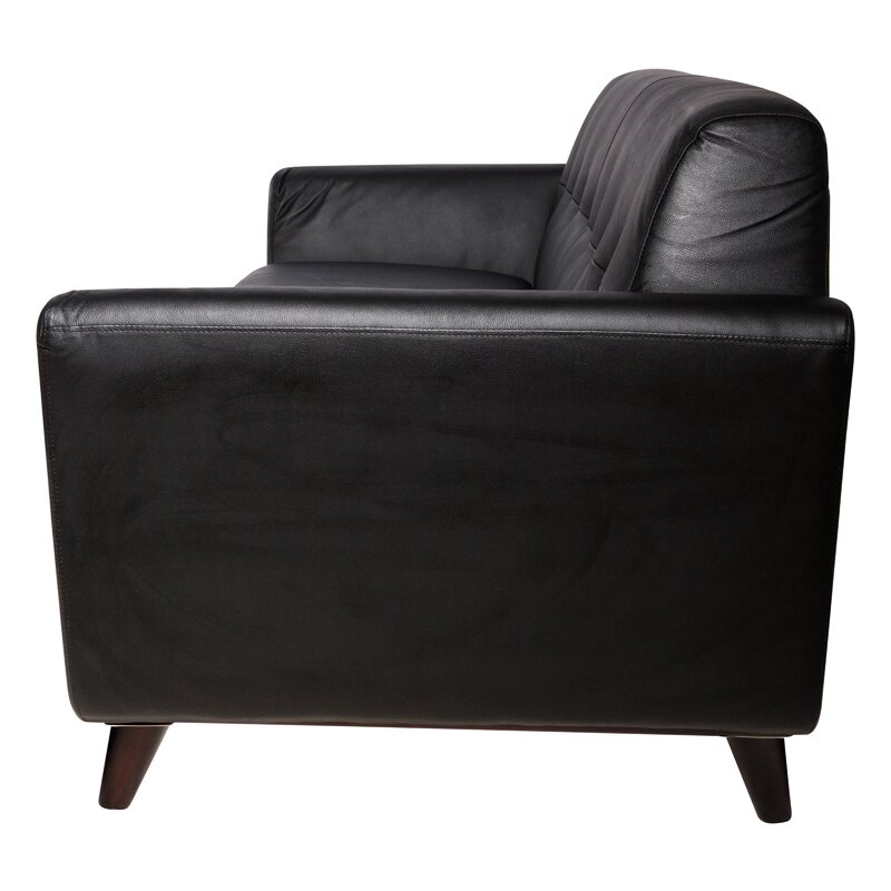 Bureen Modern Tufted Faux Leather Sofa