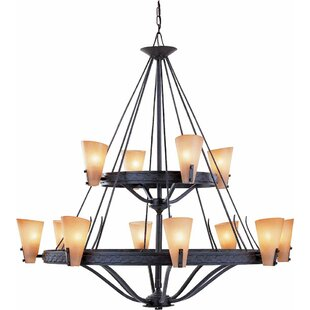 Lodge 12-Light Wagon Wheel Chandelier by Volume Lighting
