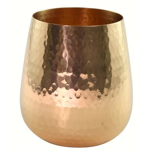 Pilla Hammered Copper Stemless 12 oz. Wine Glass
