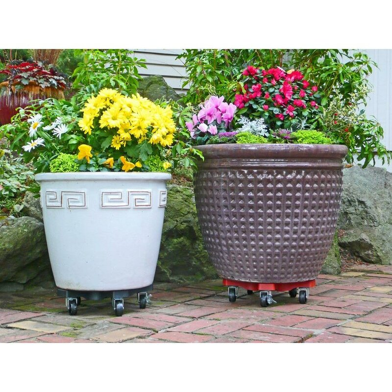 Green Patio Caddy Plant and Pot Mover; Easy Rolling; Decorative Heavy Duty; 360/° Swivel Locking Wheels; Durable Plastic; Indoor Little Easy Outdoor Home and Garden Tool; 12 Inch Plant Dolly