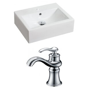 Find for Above Counter Ceramic Rectangular Vessel Bathroom Sink with Faucet and Overflow By Royal Purple Bath Kitchen
