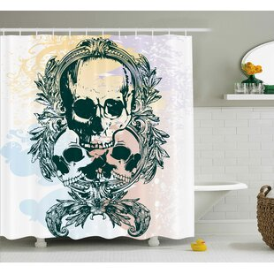 Skull Scary Deadly Rocker Furious Skeleton Head Trio With Frames From Leaves Image Single Shower Curtain