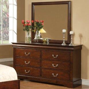 Ferrero 6 Drawer Double Dresser With Mirror