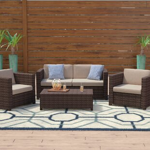 Kappa 4 Piece Rattan Sofa Set with Cushions