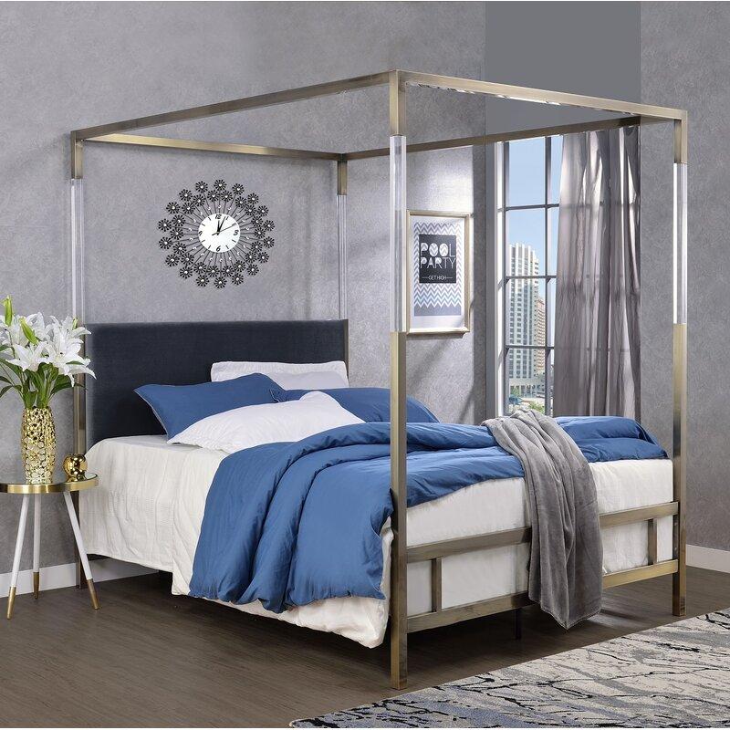 Everly Quinn Firkins Queen Upholstered Canopy Bed Wayfair