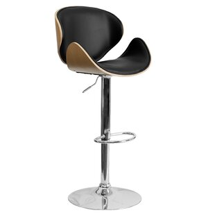 Deshazo Curved Adjustable Height Swivel Bar Stool Wade Logan