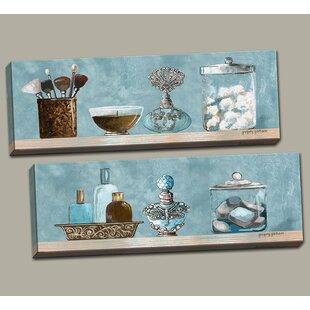 Powder Blue Bathroom Scenes Panels 2 Piece Acrylic Painting Print Set