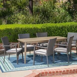 Latitude Run Juan 7 Piece Dining Set with Cushions