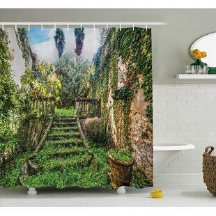 Nature Floral Ivy Fairy Theme Shower Curtain + Hooks