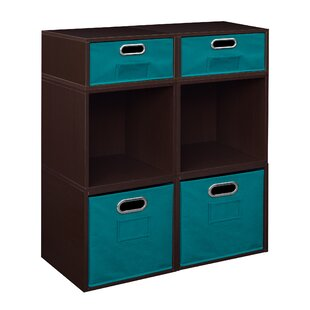 Chastain 325 H x 26 W Standard Bookcase with Bins by Rebrilliant