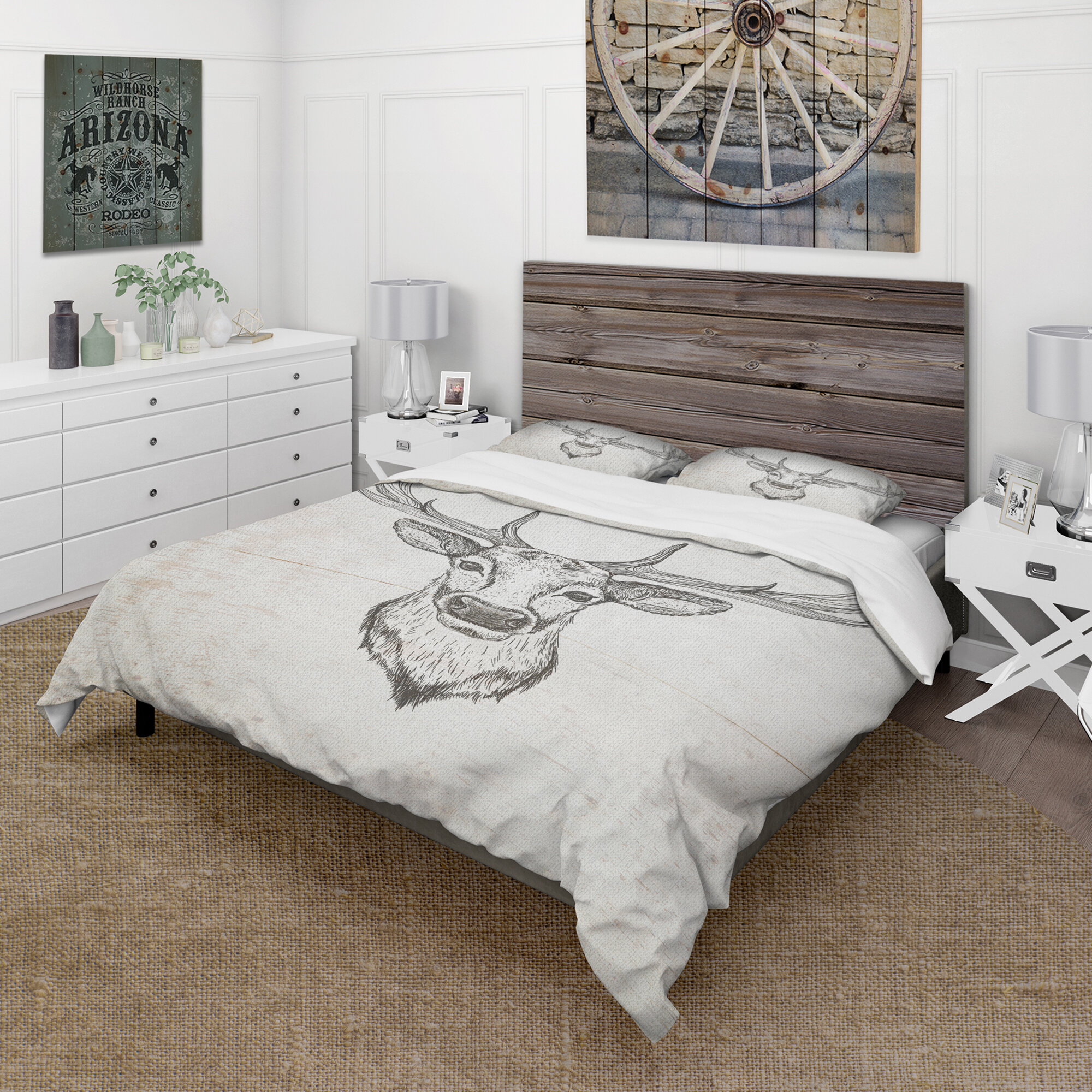 East Urban Home Deer Wild And Beautiful Ii Farmhouse Duvet Cover Set Wayfair